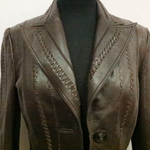Vintage ESCADA Woven Leather 2-Button Jacket